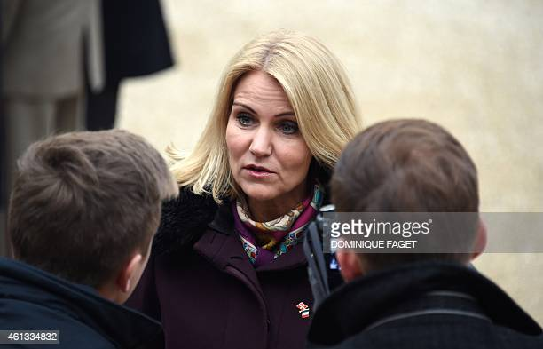 Danish Prime Minister Helle ThorningSchmidt leaves the Elysee Palace after attending a Unity rally Marche Republicaine on January 11 2015 in Paris in...