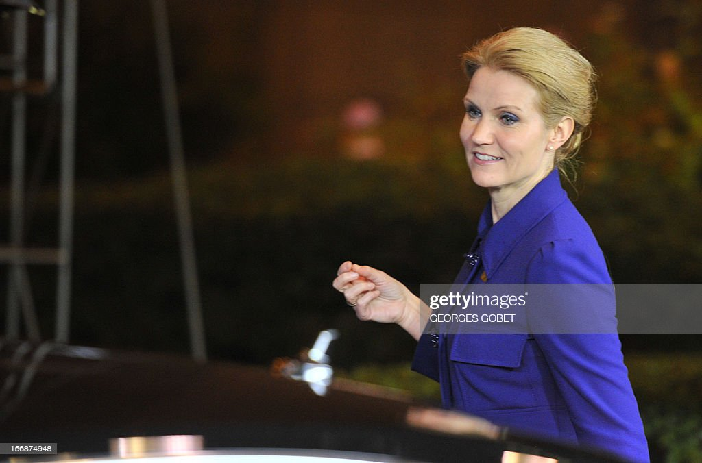 Danish Prime Minister Helle Thorning-Schmidt leaves the EU Headquarters, on November 23, 2012 in Brussels, after a two-day European Union leaders summit called to agree a hotly-contested trillion-euro budget through 2020. EU Council President Herman Van Rompuy said today that an EU budget deal was within reach early next year, after a two-day summit collapsed without agreement. AFP PHOTO / GEORGES GOBET
