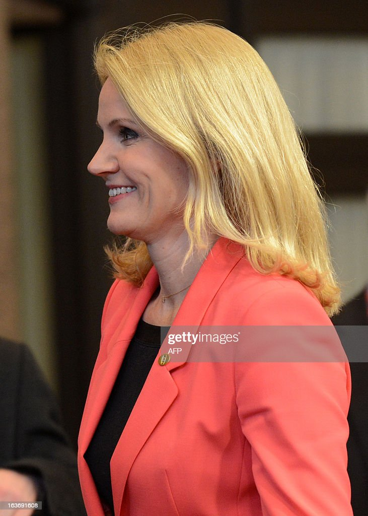 Danish Prime Minister Helle Thorning-Schmidt leaves the EU Headquarters on March 14, 2013 in Brussels, after the first day of a two-day European Union leaders summit. European Union leaders try Thursday to find a difficult balance between austerity policies adopted to cut debt and calls to spend more to generate growth and jobs in an economy stuck in the doldrums.
