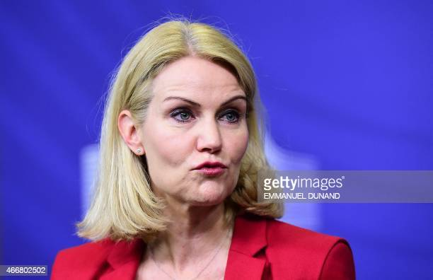 Danish Prime Minister Helle ThorningSchmidt speaks after attending the signing ceremony of the Joint Declaration EUGreenlandDenmark at the European...