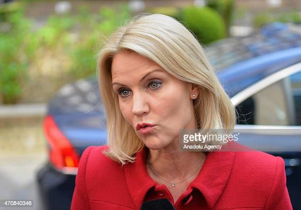 Danish prime minister Helle ThorningSchmidt speaks to the media upon her arrival at the EU headquarters before the European Union summit in Brussels...