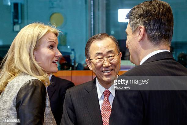 Danish Prime Minister Helle ThorningSchmidt UN SecretaryGeneral Ban Kimoon and Croatia's Prime Minister Zoran Milanovic attend the first day of the...