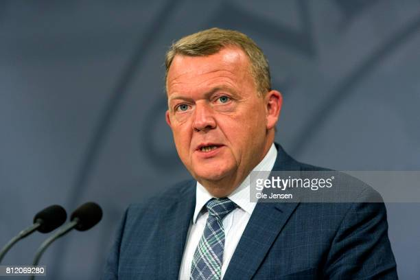 Danish Prime Minister Lars Loekke Rasmussen speaks during his meeting with Japanese Prime Minister Shinzo Aba at the PM's Office on July 10 2017 in...