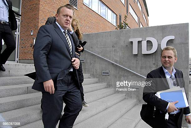 Danish prime minister Lars loekke Rasmussentook his elections copaign to TDC Tele Danmark cable Kantine in TDC lunch break and spoke to hundreds of...