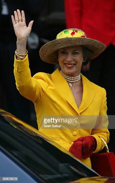Danish Princess Benedikte sister of Queen Margrethe II leaves City Hall after a reception for Miss Mary Elizabeth Donaldson and Danish Crown Prince...