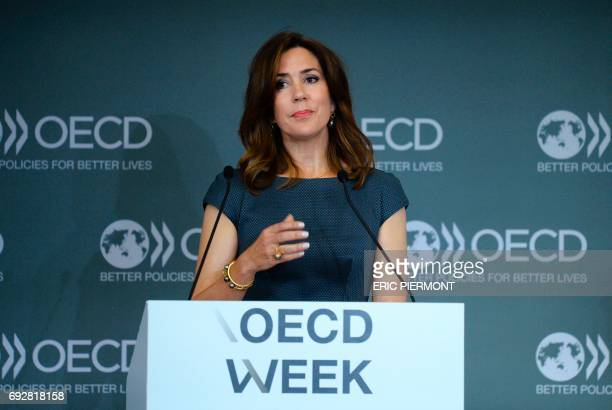 Danish Princess Mary addresses the opening of the OECD Forum on June 6 2017 at the OECD headquarters in Paris / AFP PHOTO / ERIC PIERMONT