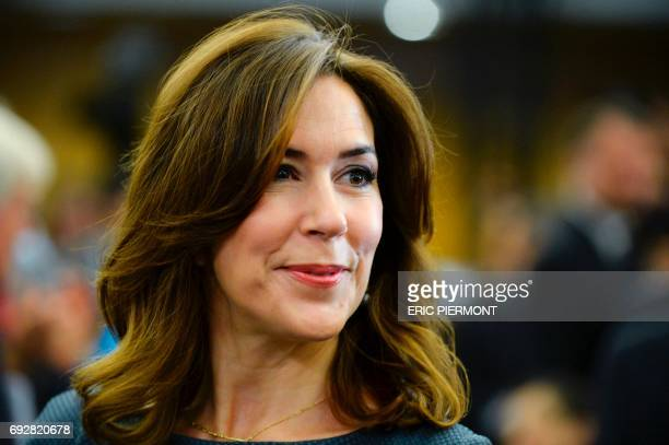 Danish Princess Mary arrives to address the opening of the OECD Forum on June 6 2017 at the OECD headquarters in Paris / AFP PHOTO / ERIC PIERMONT