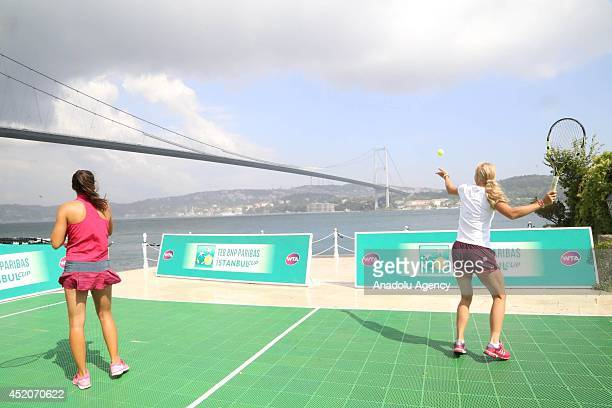 Danish professional tennis player Caroline Wozniacki in action during the exhibition game before the start of the TEB BNP Paribas Istanbul Cup in...