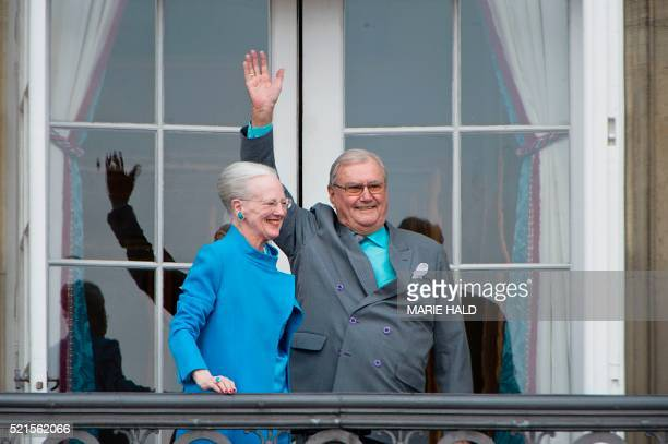 Danish Queen Margrethe and Prince Henrik greet wellwishers from the balcony on the occasion of the Queen's 76th Birthday celebration at Amalienborg...