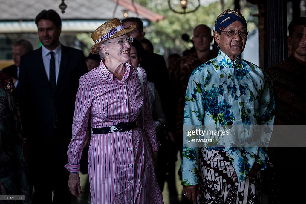 Danish Queen Margrethe II (L) meets with Sri Sultan Hamengkubuwono X (R) during her visit at Kraton Yogyakarta Palace on October 24, 2015 in Yogyakarta, Indonesia. Queen Margrethe II of Denmark and her husband, Prince Henrik, embarked upon a state visit to Indonesia to mark 65 years of diplomatic relations.