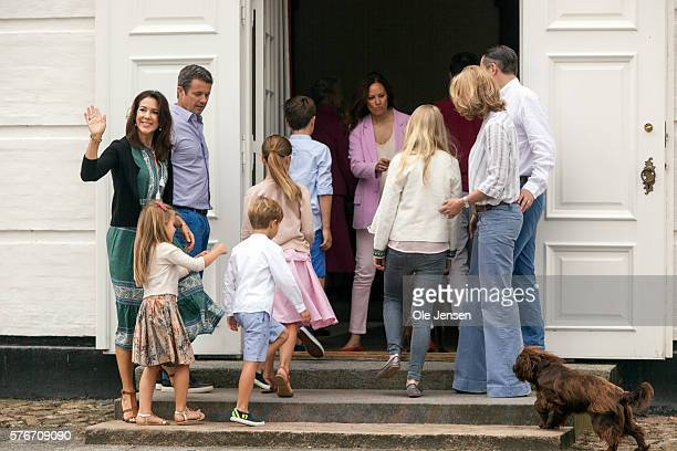 Danish Queen Margrethe relocates the royal couples summer residence to Graasten Slot and appears with the royal famimily at the annual photocall in...