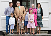 Danish royal house poses on front steps in the inner courtyard for the annual photo session on July 15 2016 at Graasten Castle in Denmark Crown...