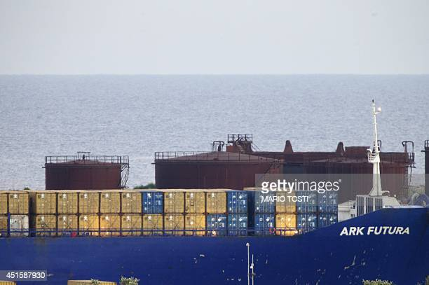 Danish ship Ark Futura arrives in the port of Gioia Tauro southern Italy on July 2 2014 for the transfer of chemical weapons from Syria to be...