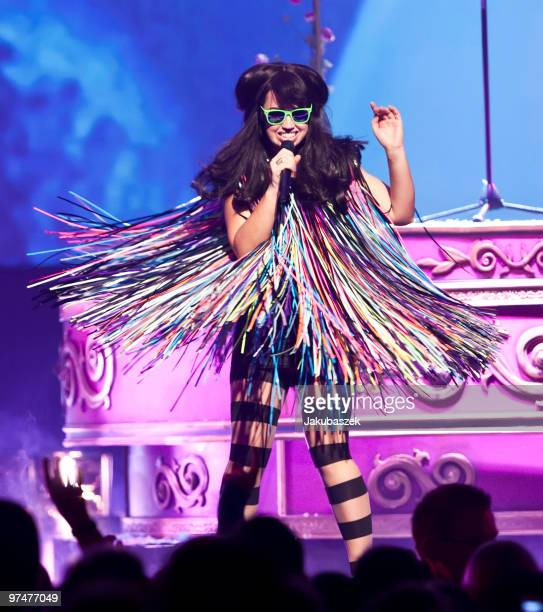 Danish singer and songwriter Aura Dione performs live at ''The Dome 53'' concert event at the Velodrom on March 5 2010 in Berlin Germany