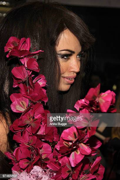 Danish singer Aura Dione arrives to the 'The Dome' music event on March 5 2010 in Berlin Germany