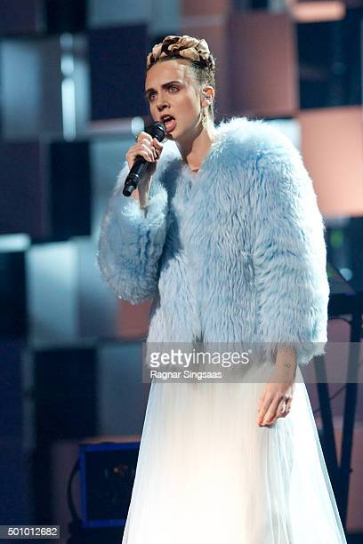 Danish singer/songwriter Mo performs during Nobel Peace Prize concert at Telenor Arena on December 11 2015 in Oslo Norway