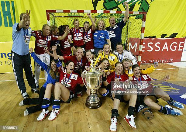 Danish Slagelse celebrate after winning 2720 the women's handball Champions League Final match against Kometal Gjorce Petrov in Skopje 20 May 2005
