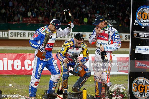 Danish Speedway Grand Prix Winner Tomasz Gollob Poland left no two Nicki Pedersen Denmark right no three Jason Crump Australia © Lars Rønbøg /...