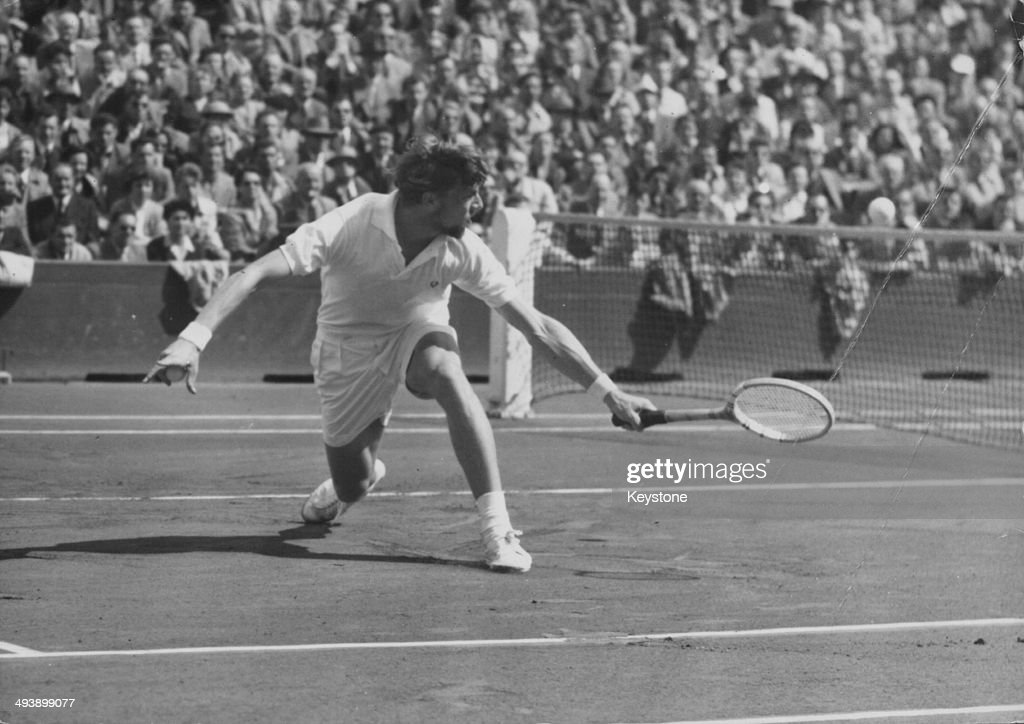 Danish tennis player Torben Ulrich in action, playing against Robert Haillet of France in the Davis Cup, at Roland Garros, Paris, July 14th 1953.