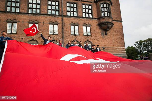 Danish Turks in solidarity demonstration for President Erdogan at Copenhagen City Hall Square Denmark on July 15 2016 The support rally was organized...