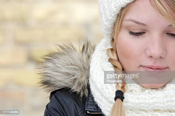 Danish young woman looking down