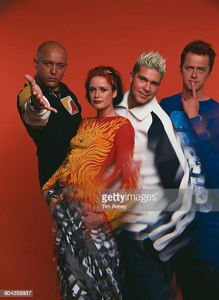 DanishNorwegian pop group Aqua circa 1995 From left to right they are René Dif Norwegian singer Lene Nystrom Soren Rasted and Claus Norreen
