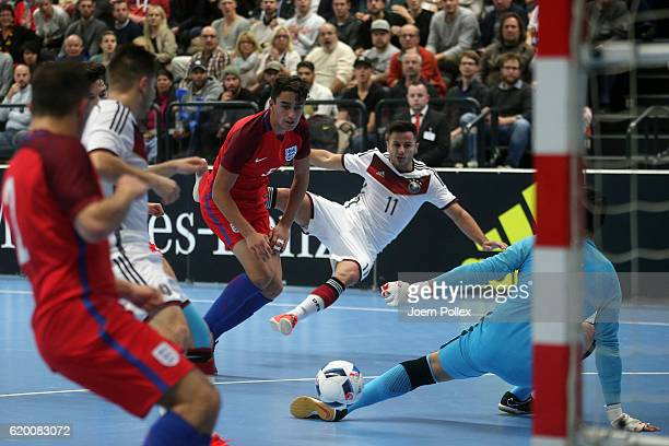 Danjiel Majdancevic of Germany in action during the Futsal International Friendly match between Germany and England at Inselparkhalle on November 1...