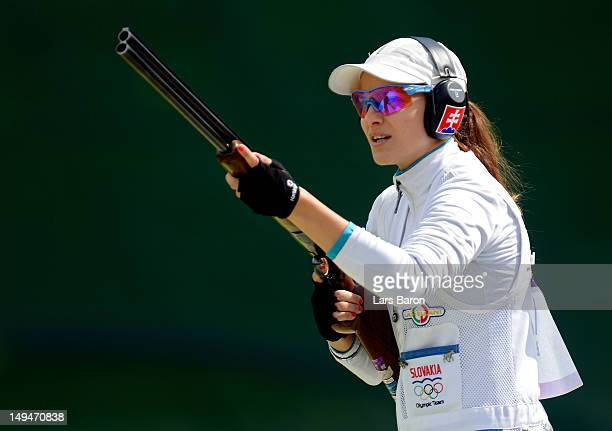 Danka Bartekova of Slovakia competes in the qualification round of the Women's Skeet Shooting on Day 2 of the London 2012 Olympic Games at The Royal...