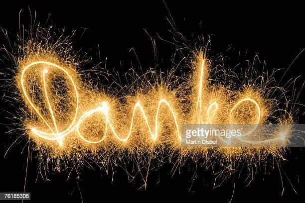 Danke' drawn with a sparkler