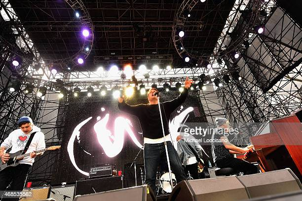Dann Gallucci Nathan Willett Matt Maust and Matthew Schwartz of the band Cold War Kids perform onstage during the ATT Block Party at the NCAA March...