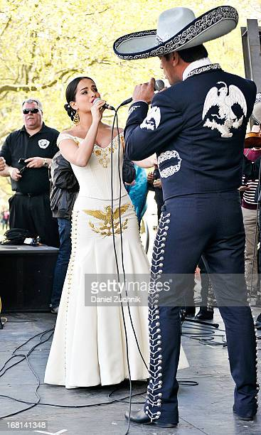 Danna Garcia and Jorge Salinas perform during the Que Bonito Amor presentation at the Festival Cinco de Mayo in Flushing Meadows Corona Park on May 5...