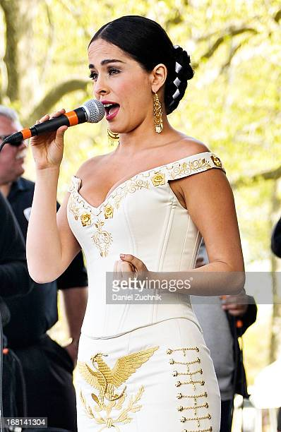 Danna Garcia performs during the Que Bonito Amor presentation at the Festival Cinco de Mayo in Flushing Meadows Corona Park on May 5 2013 in New York...