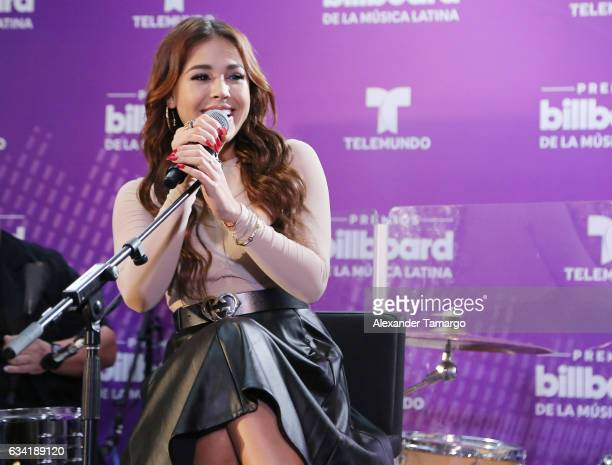 Danna Paola is seen performing during the 2017 Billboard Latin Music Awards Nominations Announcements at SLS Brickell on February 7 2017 in Miami...