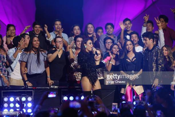 Danna Paola speaks on stage during the MTV MIAW Awards 2017 at Palacio de Los Deportes on June 3 2017 in Mexico City Mexico