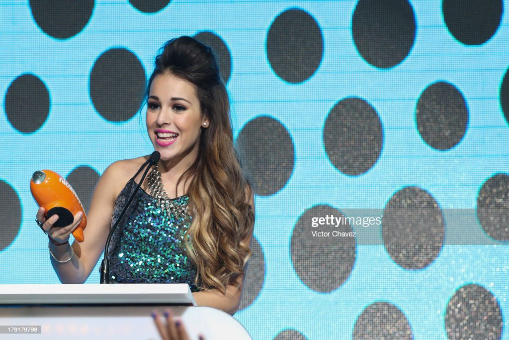 <a gi-track='captionPersonalityLinkClicked' href=/galleries/search?phrase=Danna+Paola&family=editorial&specificpeople=5853275 ng-click='$event.stopPropagation()'>Danna Paola</a> speaks onstage during the Kids Choice Awards Mexico 2013 at Pepsi Center WTC on August 31, 2013 in Mexico City, Mexico.