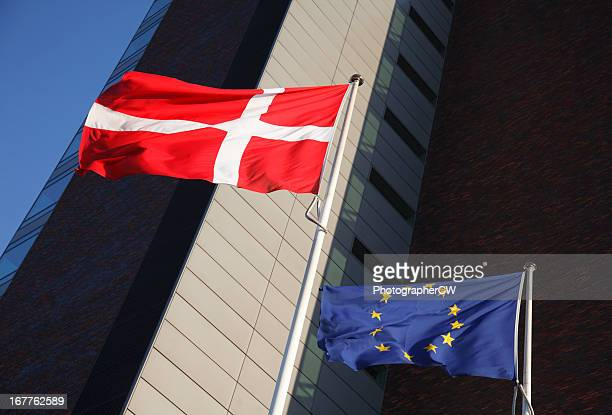 Dannebrog and EU flags