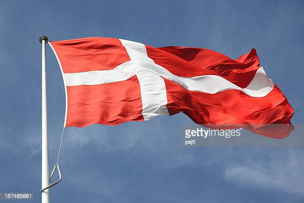 Dannebrog the flag of Denmark on blue sky