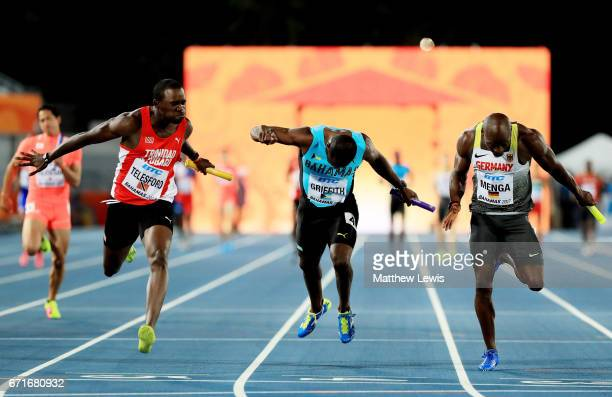 DanNeil Telesford of Trinidad and Tobago first place AleixoPlatini Menga of Germany second place and Adrian Griffith of the Bahamas third place cross...