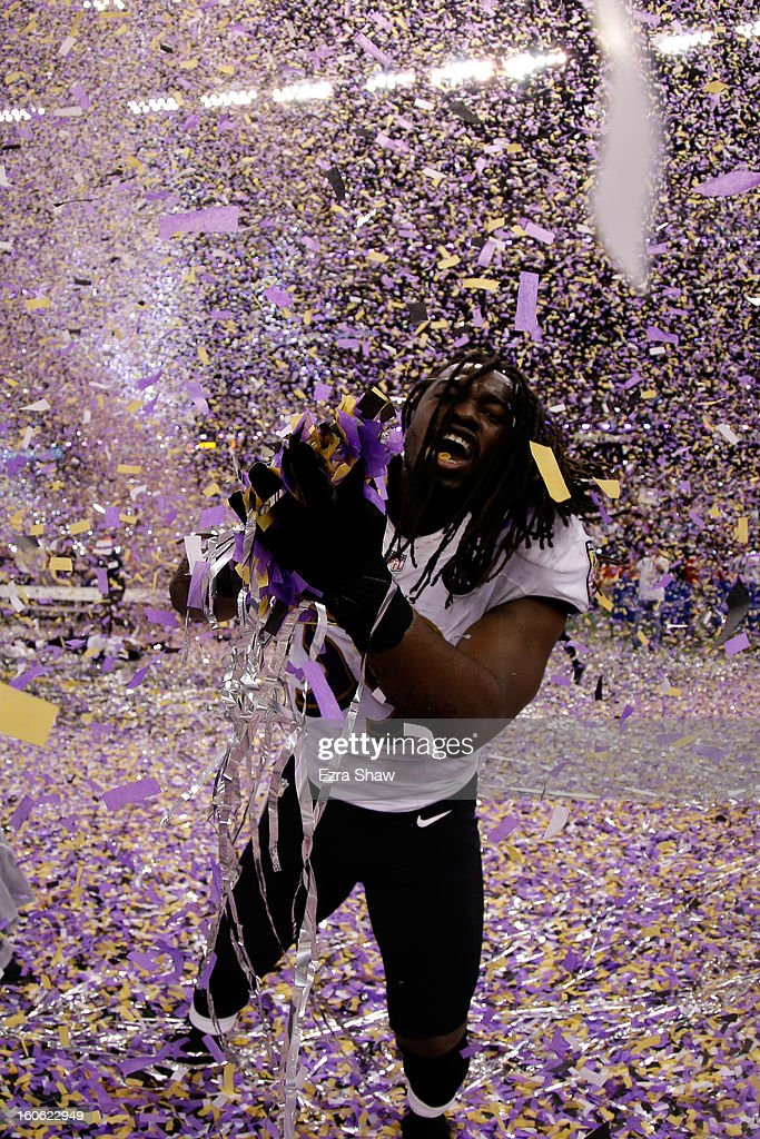Dannell Ellerbe #59 of the Baltimore Ravens celebrates after defeating the San Francisco 49ers during Super Bowl XLVII at the Mercedes-Benz Superdome on February 3, 2013 in New Orleans, Louisiana. The Ravens defeated the 49ers 34-31.