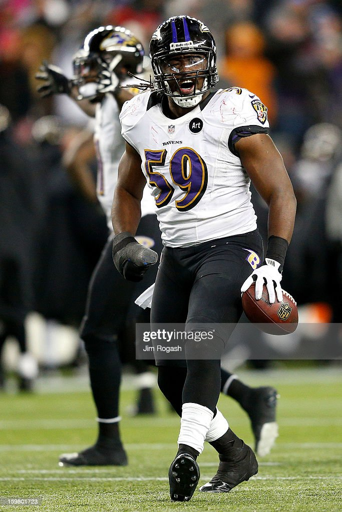 Dannell Ellerbe #59 of the Baltimore Ravens celebrates after intercepting a pass by Tom Brady #12 of the New England Patriots in the fourth quarter during the 2013 AFC Championship game at Gillette Stadium on January 20, 2013 in Foxboro, Massachusetts.