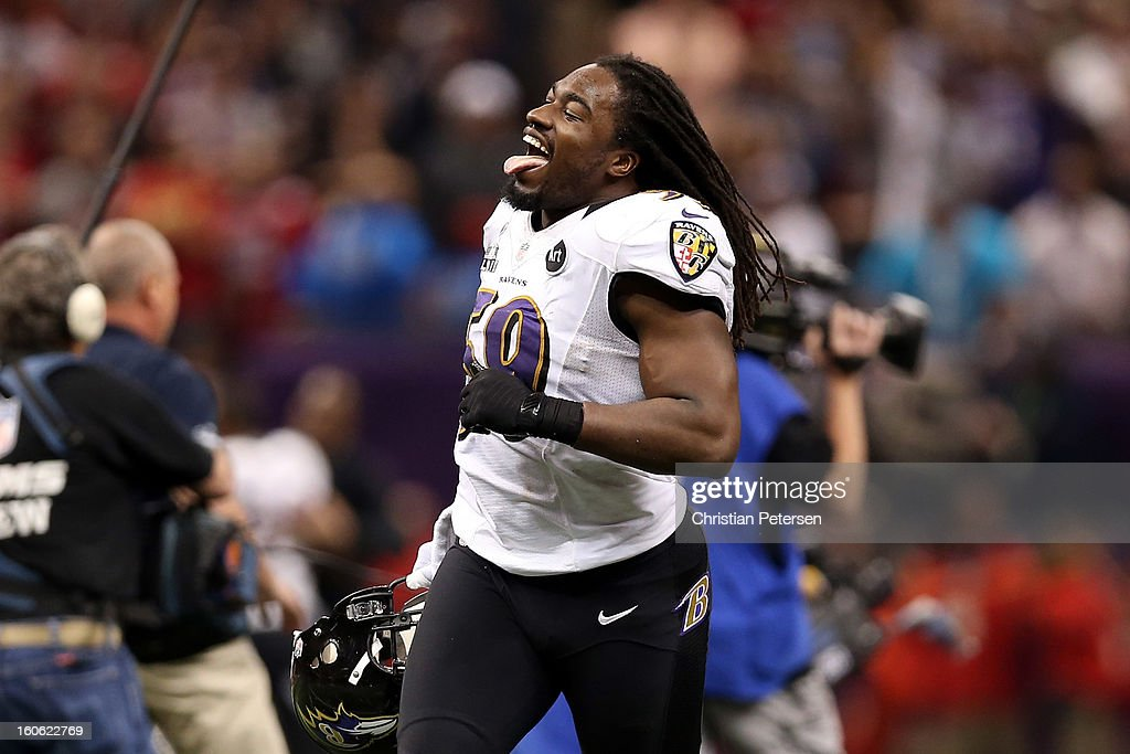Dannell Ellerbe #59 of the Baltimore Ravens celebrates on the field after they won 34-31 against the San Francisco 49ers during Super Bowl XLVII at the Mercedes-Benz Superdome on February 3, 2013 in New Orleans, Louisiana.