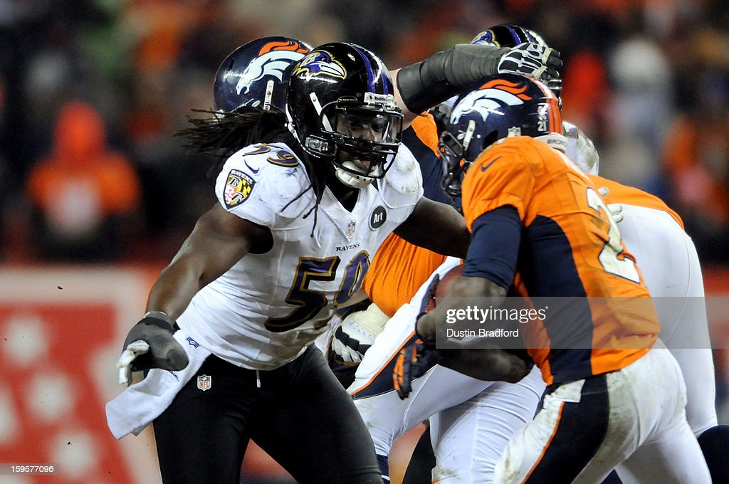 Dannell Ellerbe #59 of the Baltimore Ravens defends against the Denver Broncos during the AFC Divisional Playoff Game at Sports Authority Field at Mile High on January 12, 2013 in Denver, Colorado. The Ravens won 38-35 in 2 overtimes.