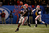 Dannell Ellerbe of the Georgia Bulldogs celebrates after he intercepted the ball against the Hawai'i Warriors during the Allstate Sugar Bowl at the...
