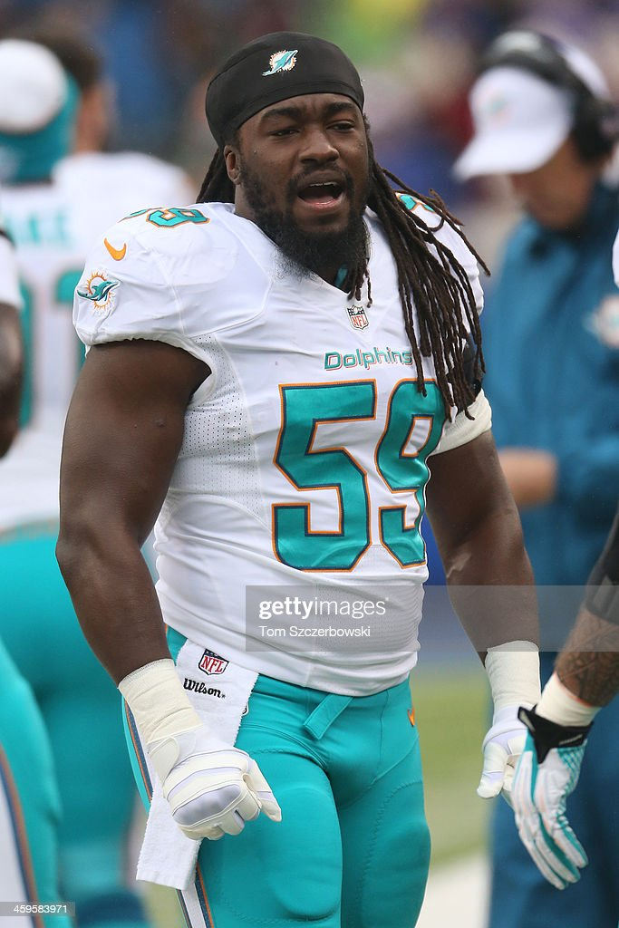 <a gi-track='captionPersonalityLinkClicked' href=/galleries/search?phrase=Dannell+Ellerbe&family=editorial&specificpeople=4090365 ng-click='$event.stopPropagation()'>Dannell Ellerbe</a> #59 of the Miami Dolphins during NFL game action against the Buffalo Bills at Ralph Wilson Stadium on December 22, 2013 in Orchard Park, New York.