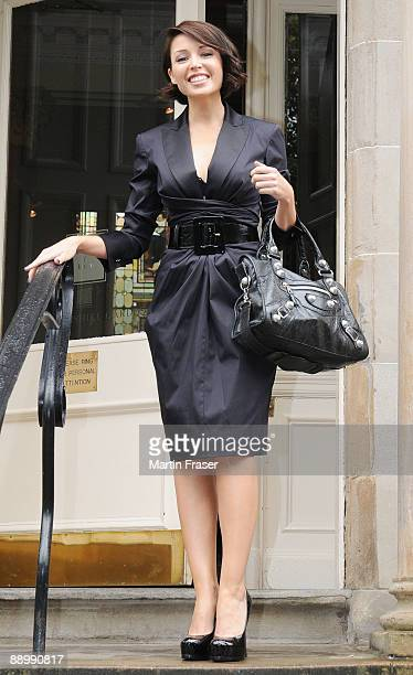 Danni Minogue and her fellow XFactor judges leave their hotel for Glasgow auditions at Braehead Arena on July 12 2009 in Glasgow Scotland