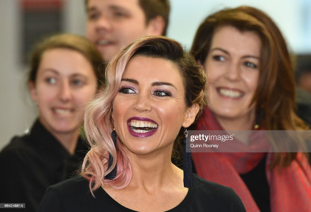 Danni Minogue has a laugh during a press conference announcing Virgin Australia's new Melbourne to Los Angeles flights on April 4, 2017 in Melbourne, Australia.