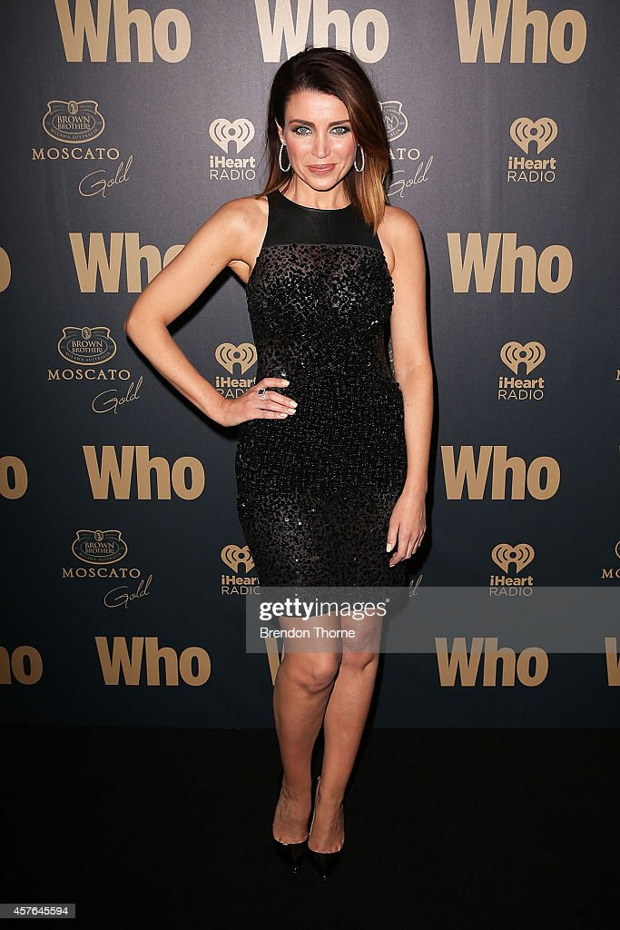 Danni Minogue poses at WHO's sexiest people party 2014 at Fox Studios on October 22 2014 in Sydney Australia