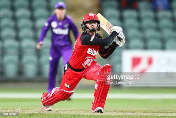 Danni Wyatt of the Renegades bats during the Women's Big Bash League match between the Melbourne Renegades and the Hobart Hurricanes at Aurora...