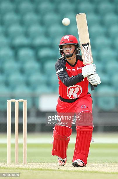 Danni Wyatt of the Renegades bats during the Women's Big Bash League match between the Hobart Hurricanes and the Melbourne Renegades at Aurora...