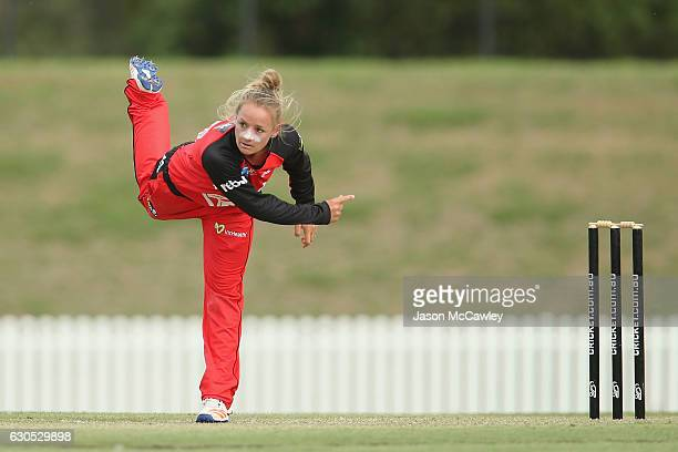 Danni Wyatt of the Renegades bowls during the WBBL match between the Melbourne Renegades and Sydney Thunder at Blacktown International Sportspark on...